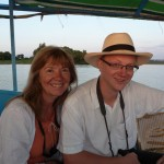 Maureen and Dr. Ed Haworth: Enjoying the sunset at the mouth of the Blue Nile.