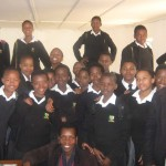 Girls Empowerment Club, Swazi National High School with SWAGAA's Doreen Ngwenya (lower, centre), co-ordinator of the clubs.