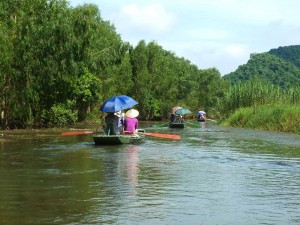 Riding down the the Ngo Dong RIver.