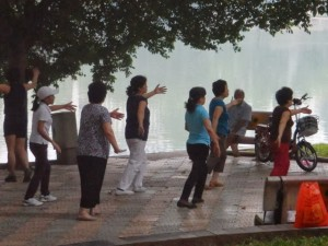 Early morning Tai Chi.