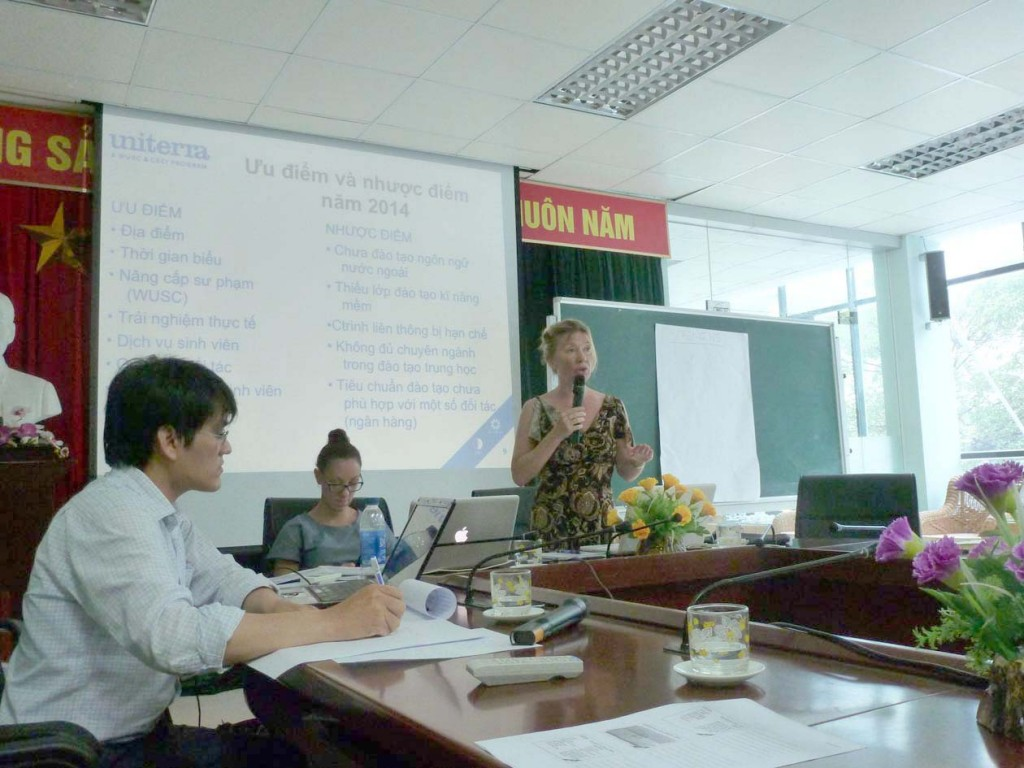 Ashley Laracy and I presenting a SWOT workshop to staff at Bac Thang Long College, Hanoi.