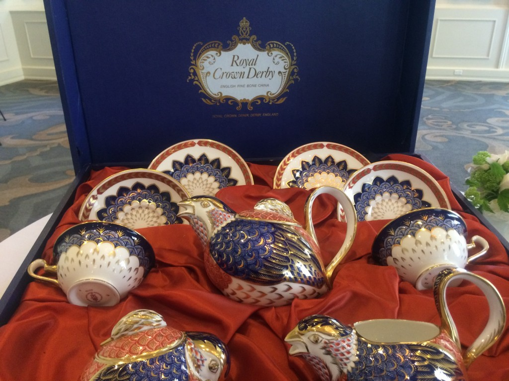 Crown Derby, the tea set used the last time the royal family visited the King Edward Hotel.